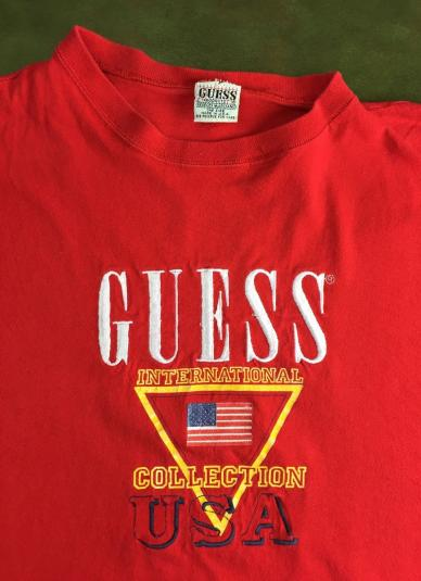 133ec79f93db7 Vintage 80s Classic GUESS Georges Marciano Red USA T-Shirt