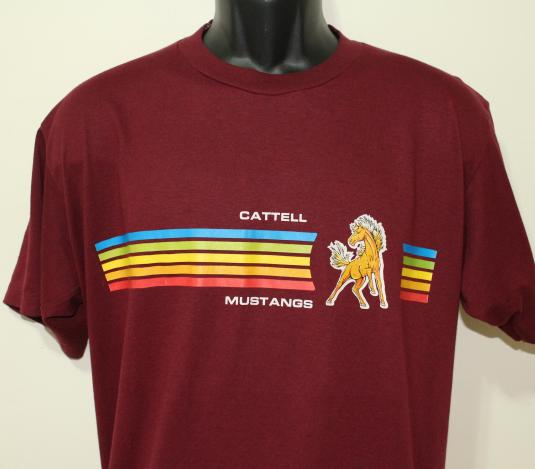 Cattell mustangs vintage maroon t shirt xl large for Vintage mustang t shirt