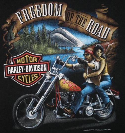 Vintage 3d Emblem Harley Davidson Freedom T Shirt
