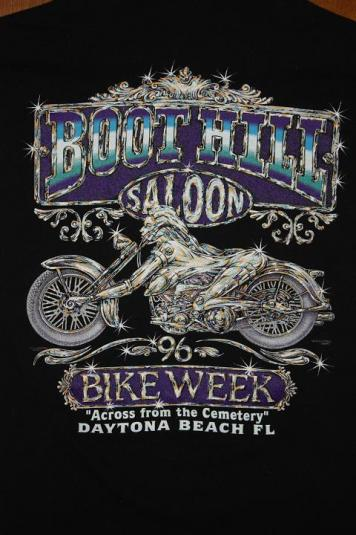 Vintage Boot Hill Saloon Bike Week 96 Chome Lady T Shirt