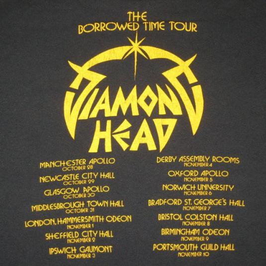 What Is Uber Black >> vintage DIAMOND HEAD 1982 BORROWED TIME TOUR T-Shirt concert