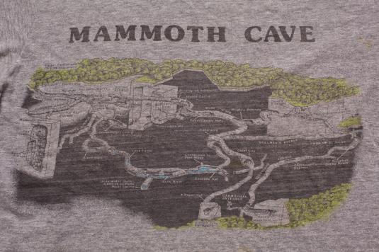 Mammoth Cave Maps T Shirt Vintage 80s Kentucky Caving Tee
