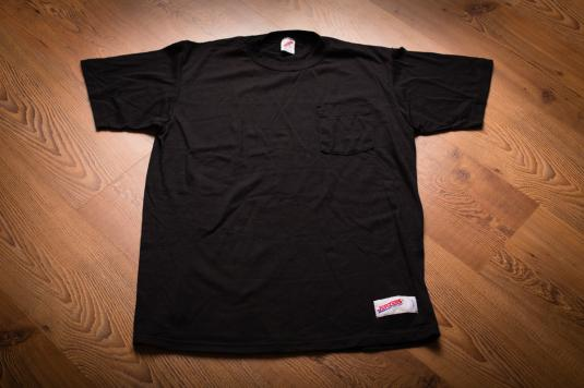 Jerzees Logo Patch Pocket T-Shirt, Branded Black Tee 80s-90s