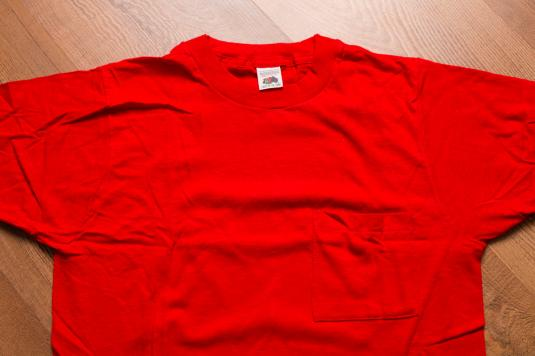 1928a0a0 Fruit of the Loom Blank Pocket T-Shirt, S, Red, Vintage 80s
