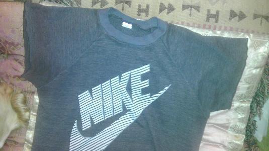 5e6a49f09b24f NIKE Blue label 80s sweat t-shirt huge Swoosh block letters