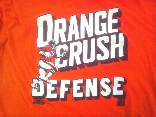 Excellent 1977 ORANGE CRUSH DEFENSE Denver Broncos vintage t-shirt XH81