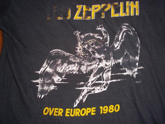 Vintage Led Zeppelin 1980 Over Europe Tour T Shirt Small S