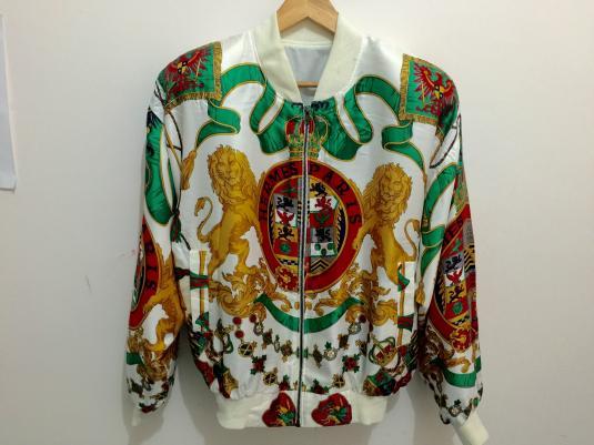 Vintage Hermes Paris Silk Scarf Print Bomber Jacket