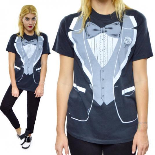 bb048111 Vintage 80s Tuxedo Funny 50/50 T Shirt Sz L