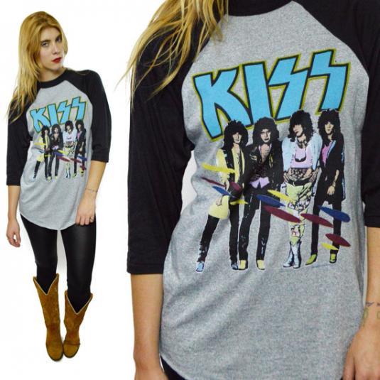 Vintage 80s Kiss Asylum World Tour Raglan 3 4 Sleeve Jersey