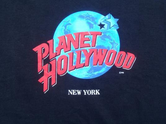 Vintage 1990s planet hollywood black souvenir t shirt xl for Planet hollywood t shirt