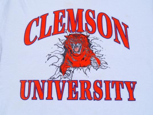 Vintage 1990s White Clemson Tigers University T Shirt L