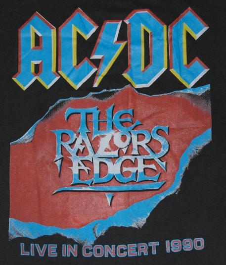 vintage 1990 acdc razors edge concert tour tshirt