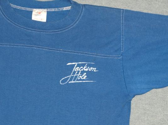 Vintage 1980s Jackson Hole Wyoming Blue T-Shirt