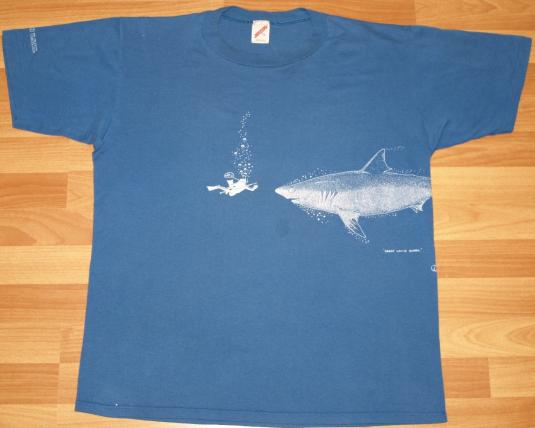 Vintage US Virgin Islands OH SHIT Scuba Shark Attack T-Shirt