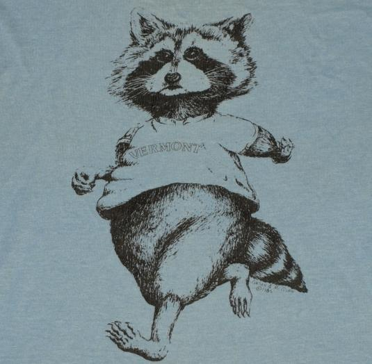 Vintage 80s 1982 Vermont Animated Raccoon T-Shirt