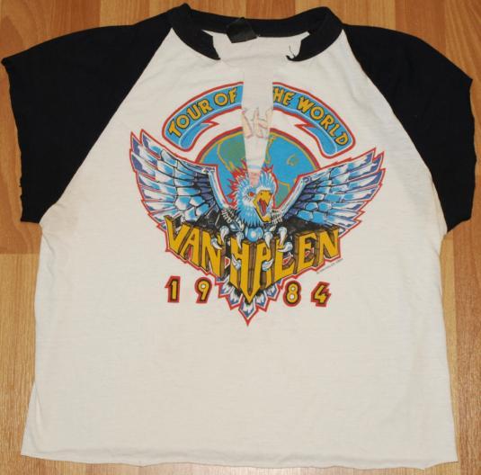 0a922b24b69 Vintage 1984 VAN HALEN Concert Tour T-Shirt Raglan
