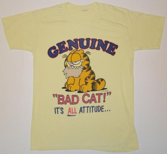 Vintage 1980s Garfield Bad Cat Attitude T Shirt