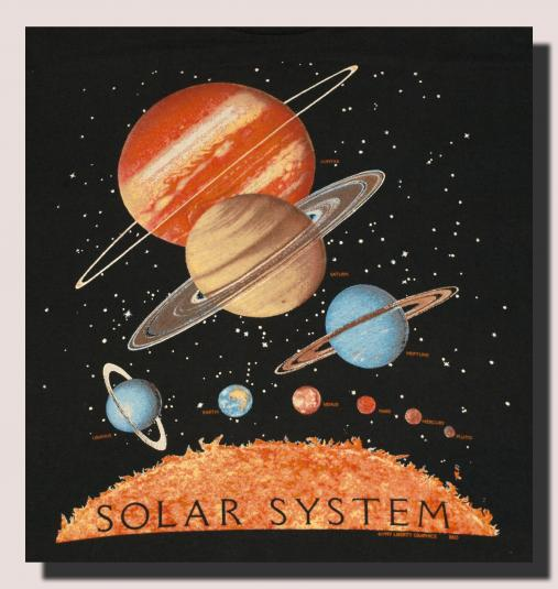 Vintage 1990s Solar System space Planets t-shirt 90s