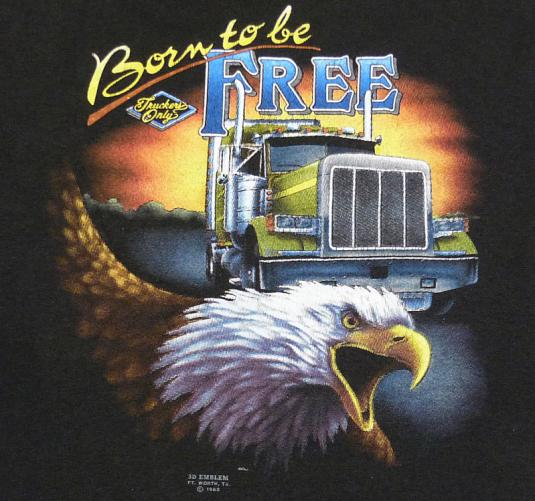 80 S Truckers Only 3d Emblem Born Free Eagle T Shirt Xl
