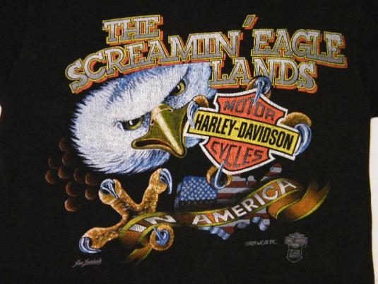 3c29c0e9 Vintage 80's Harley Davidson Screamin Eagle Lands T-Shirt