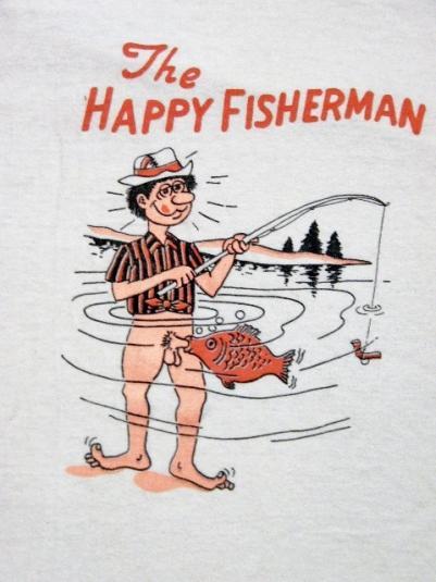 Vintage 1980's The Happy Fisherman Blow Job T-Shirt