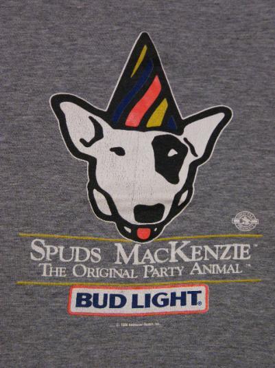 Vintage 1986 Spuds Mackenzie Bud Light Beer Rayon T Shirt