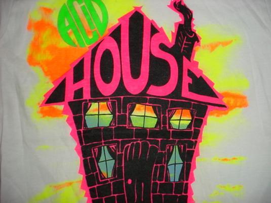 Vintage acid house t shirt fluorescent trippy rave s for Acid house raves 1980s