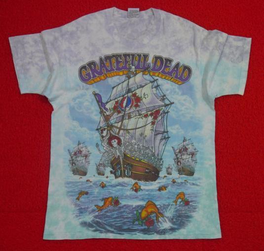 1993 Greatful Dead SHIP OF FOOLS Liquid Blue Tye Dye Shirt - sz L - true vintage tee mTwkR
