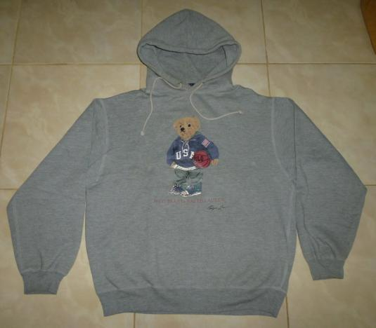 Vintage Polo Bear Ralph Lauren USA Basket Hoodie Sweatshirt