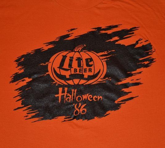 Vintage 80s Miller Lite Halloween Pumpkin T Shirt M L