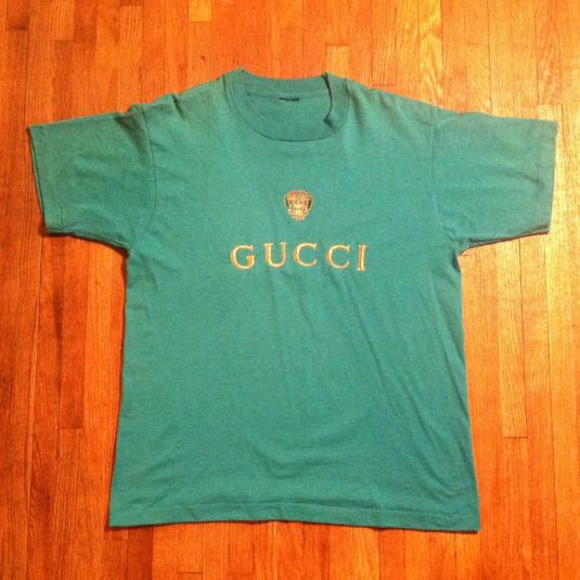 8bca73beb Vintage Gucci gold thread embroidered t-shirt
