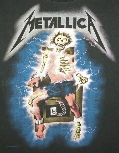San Diego Electric >> Metallica 1987 Electric Chair Vintage T Shirt Glows