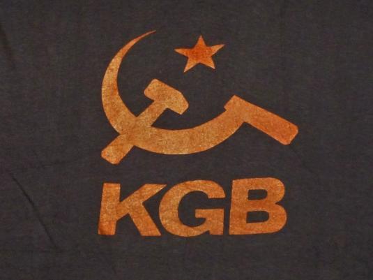 KGB 80s Russia Logo Symbol Vintage T Shirt USSR Deadstock M