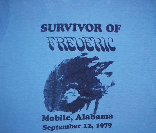 Vintage I Survived Hurricane Frederic 1979 Alabama T Shirt