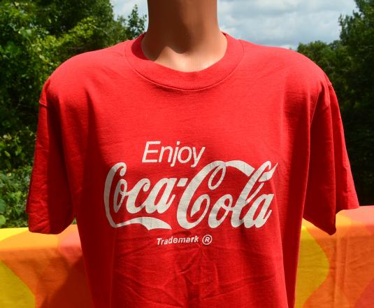 7a7854d5e81 vintage enjoy COKE classic coca cola soda red t-shirt 80s