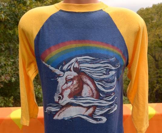 Vintage Unicorn Rainbow Baseball Raglan Ringer T Shirt 80s