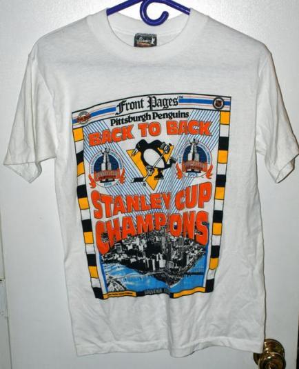 Vtg Pittsburgh Penguins Back To Back Stanley Cup T Shirt
