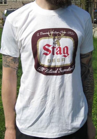 Vintage Stag Beer Logo T Shirt