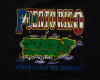 80s Puerto Rico Island , Cartoon Map, Caribbean