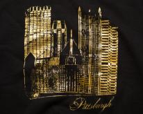 Distressed Pittsburgh Swea, Gold Gilt Cityscape, Baggy