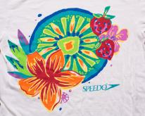 Speedo , Tropical Flowers & Fruit, Graphic Tee, 90s