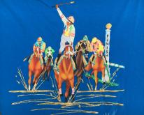 1980s Blue Hand Painted Horse Race  L Hanes