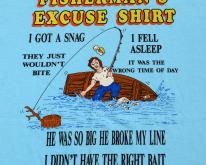 1980s Fishermans Excuse Light Blue Novelty L