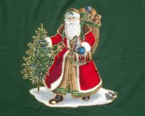 1990s Santa Claus Christmas Green XL
