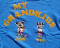 1980s Grandkids Teddy Bear Flock Letters Sweat