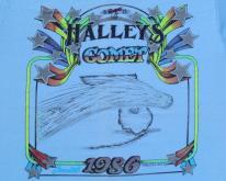 Vintage 1980s Halleys Comet Glow in the Dark Blue T-Shirt M