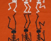 1990s Dancing Skeleton Orange Halloween