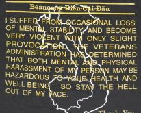 VIET NAM Veteran Warning Black  NEVER WORN