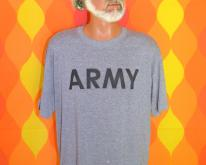 ARMY heathered gray rayon tri-blend  80s